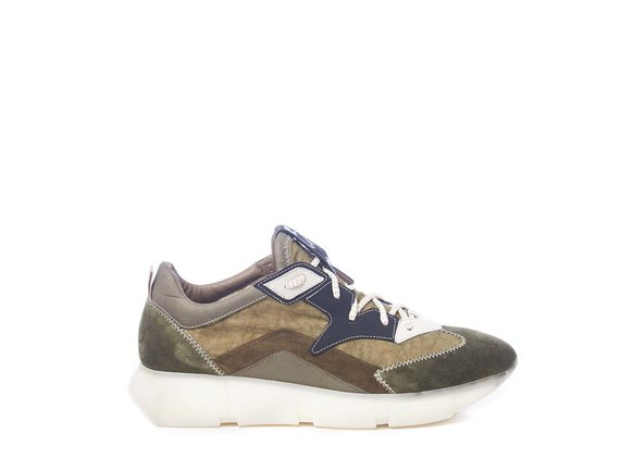 Men's vintage khaki/clay-grey running shoes in split leather and nylon