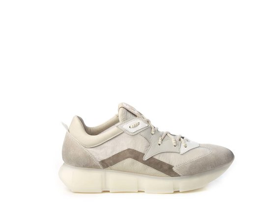 Men's vintage ice-white/ivory running shoes in split leather and nylon - Beige