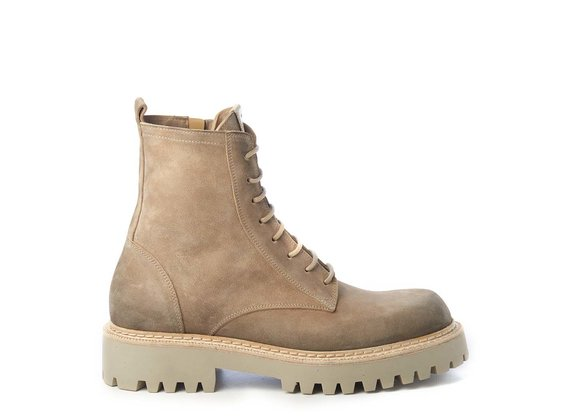 Men's sand-yellow split leather combat boots