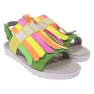 Sandali multicolor fluo in simil pelle