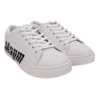 White logo detail faux leather sneakers