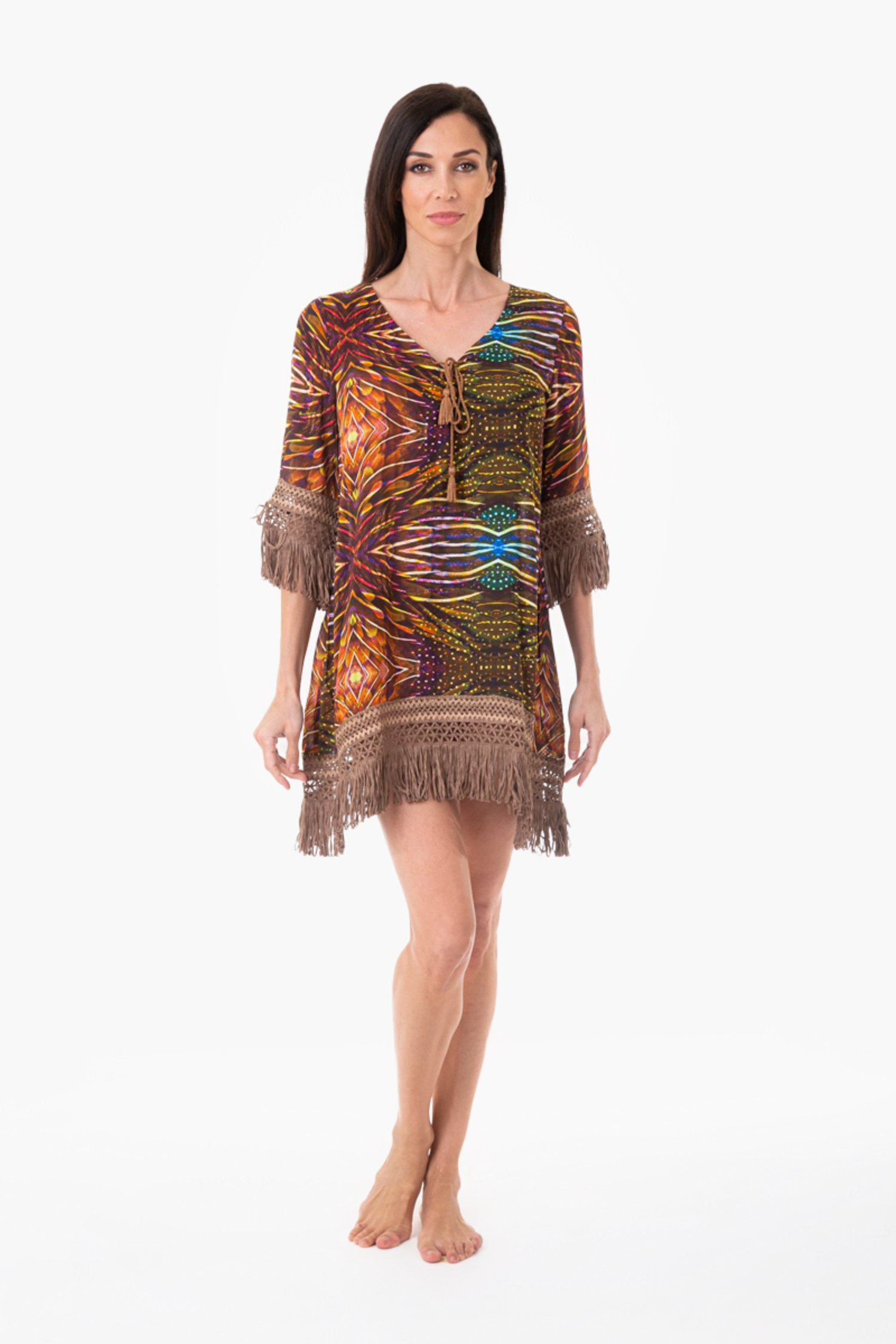 KAFTAN FRINGES ROPE - Plumage Ambra