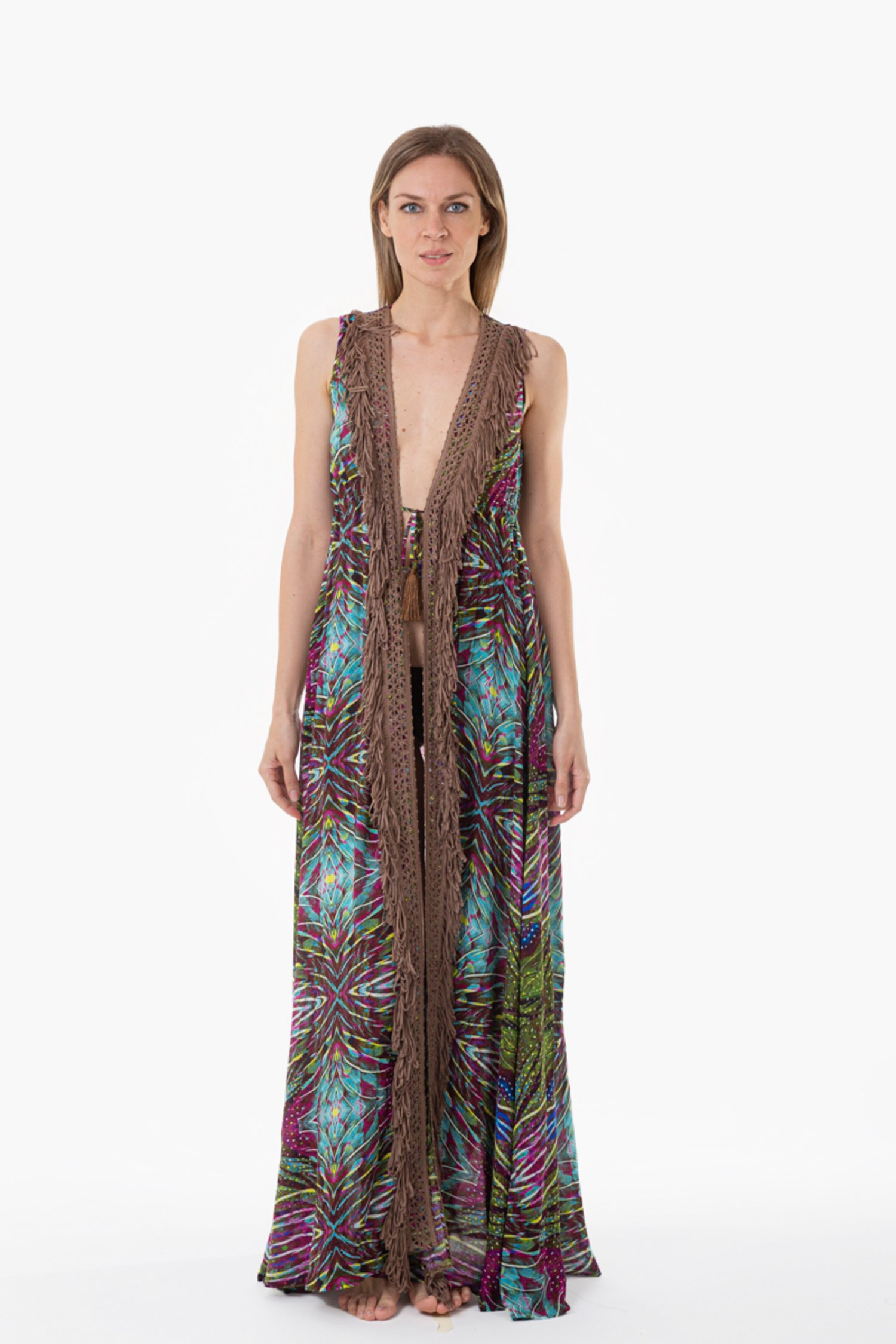 LONG DRESS WITH FRINGES - Plumage Light Blue