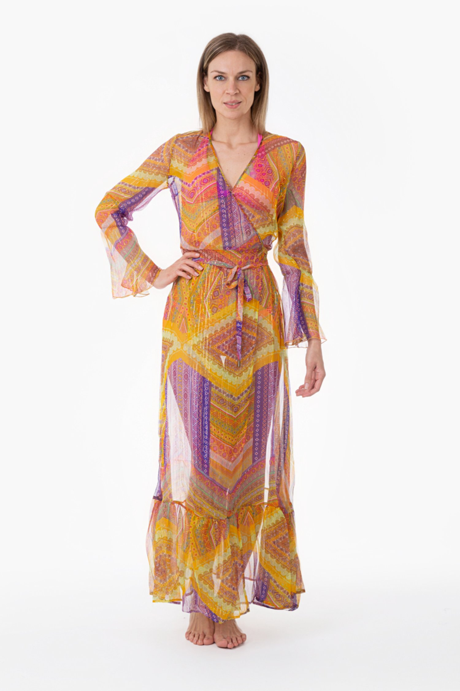 LONG KAFTAN WITH CROSSING SILK LUREX - Orange