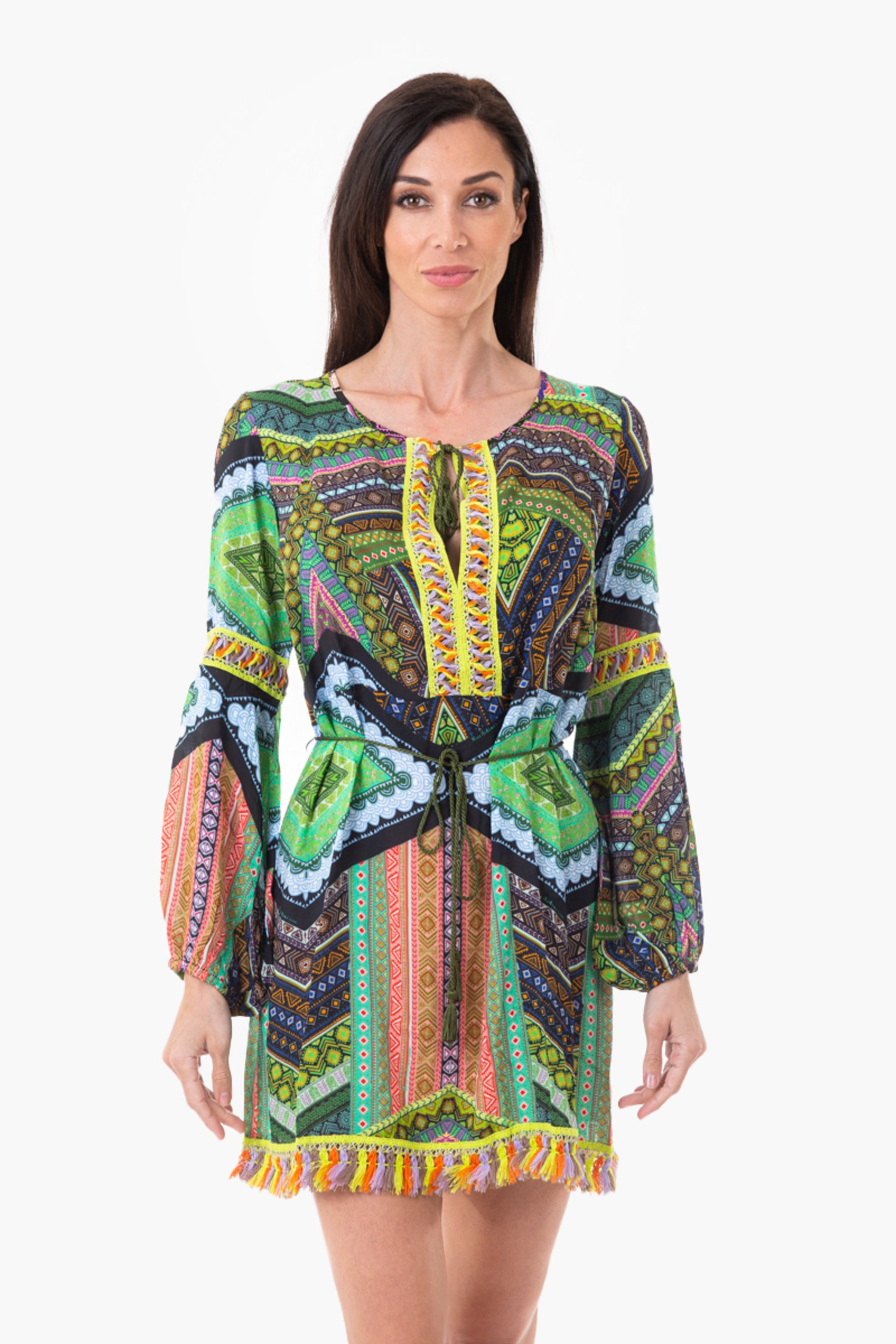 KAFTAN WITH PON PON BELT - Green