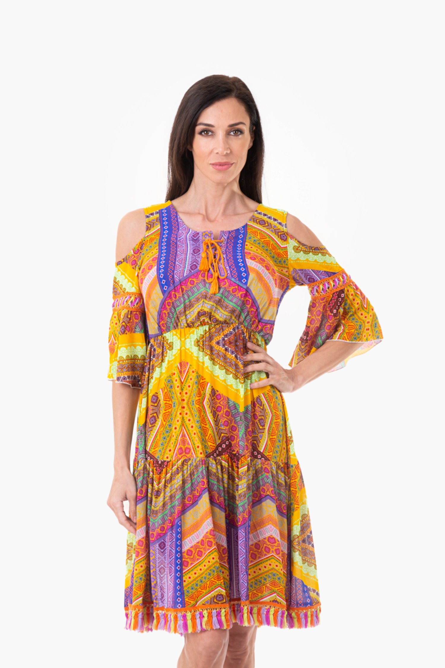 FRINGES KAFTAN MULTICOLOR - Orange