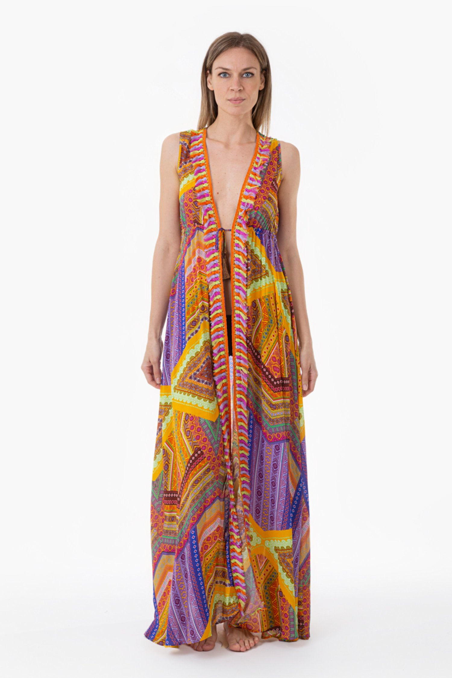 LONG DRESS WITH MULTICOLORED FRINGES - Orange