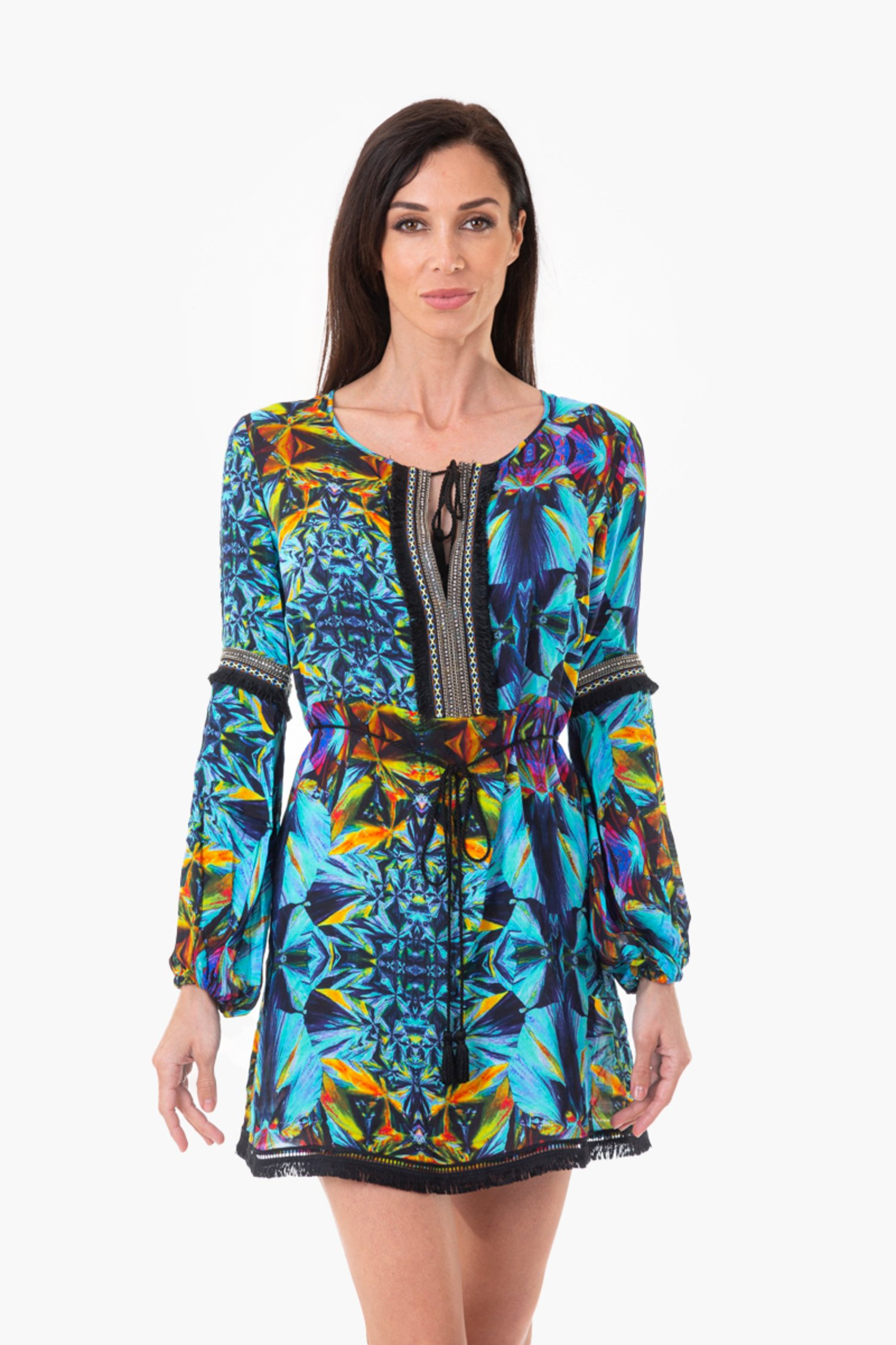 SHORT KAFTAN  WITH TRIMMINGS AND BELT - Blue Kaleidoscope