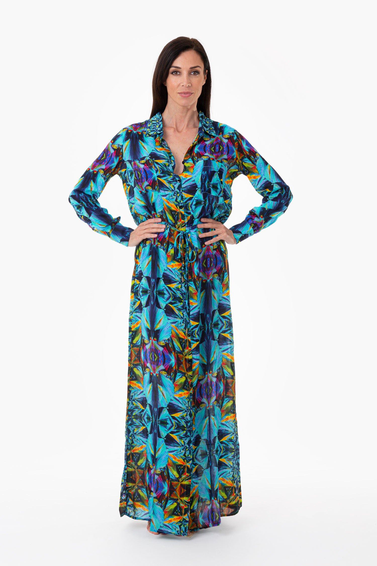 LONG DRESS CHEMISIER - Blue Kaleidoscope