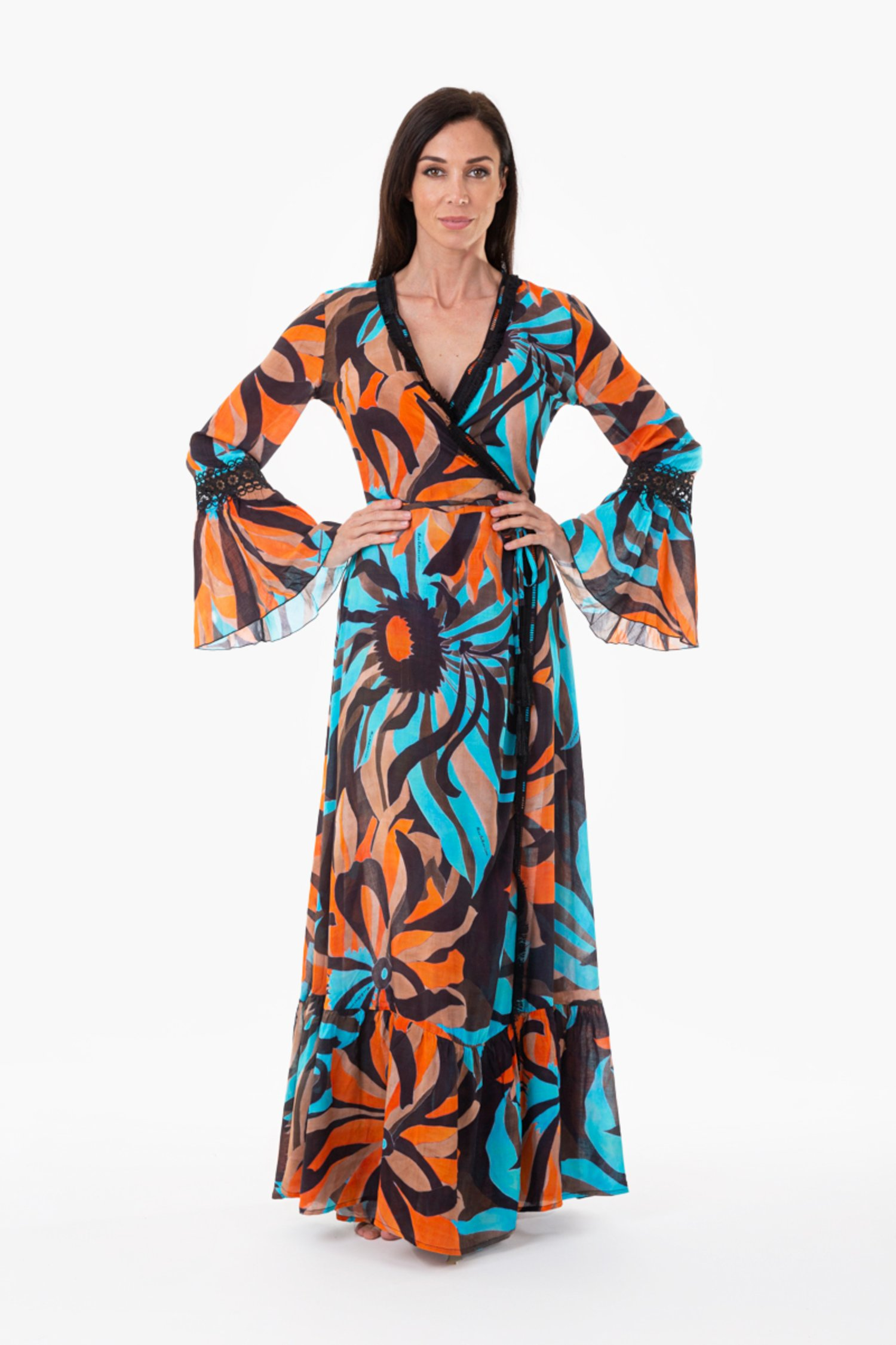 LONG KAFTAN CROSSED TRIMMINGS - Seventies Acqua