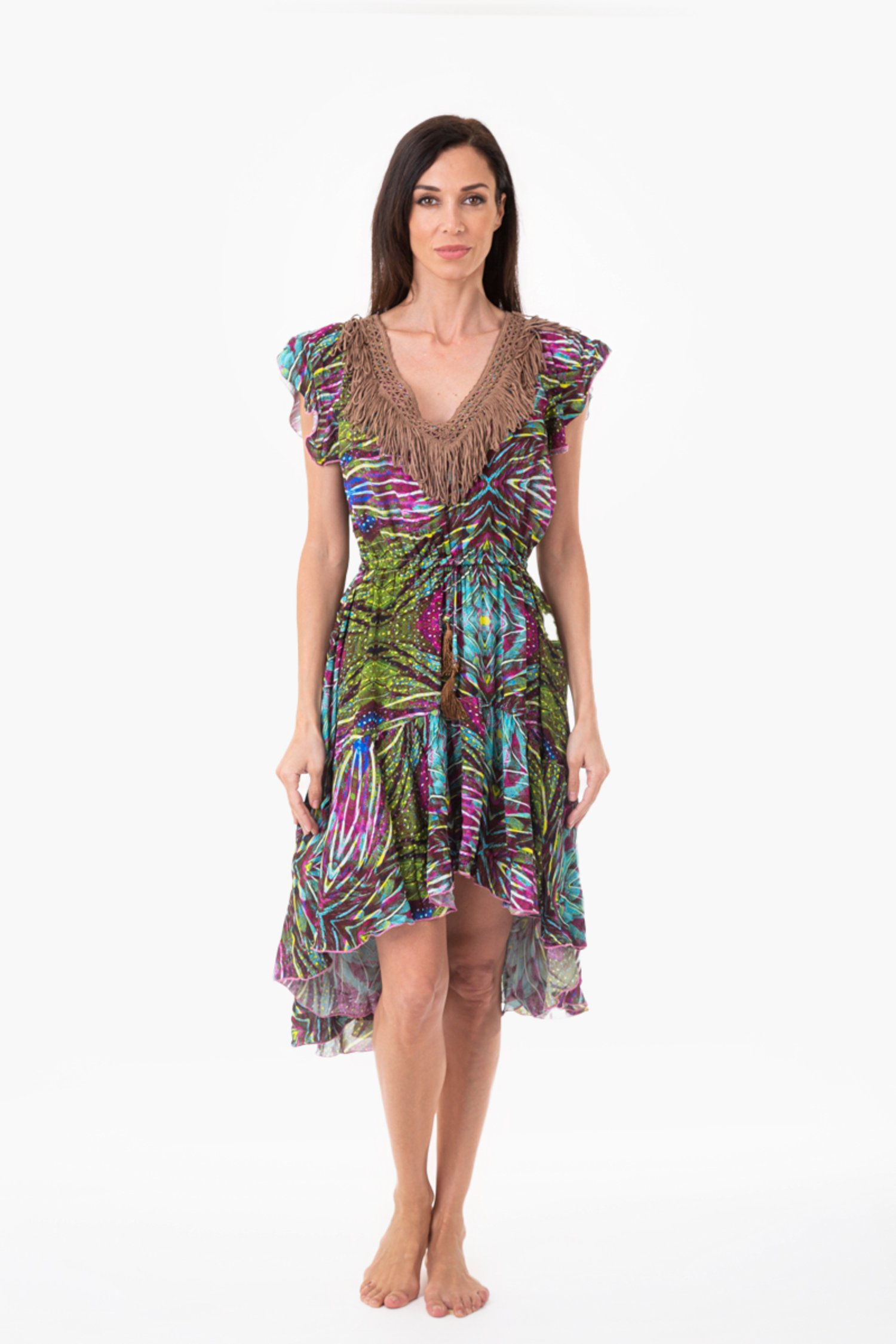 ASYMMETRIC DRESS LONGUETTE WITH TRIMMINGS - Plumage Azzurro