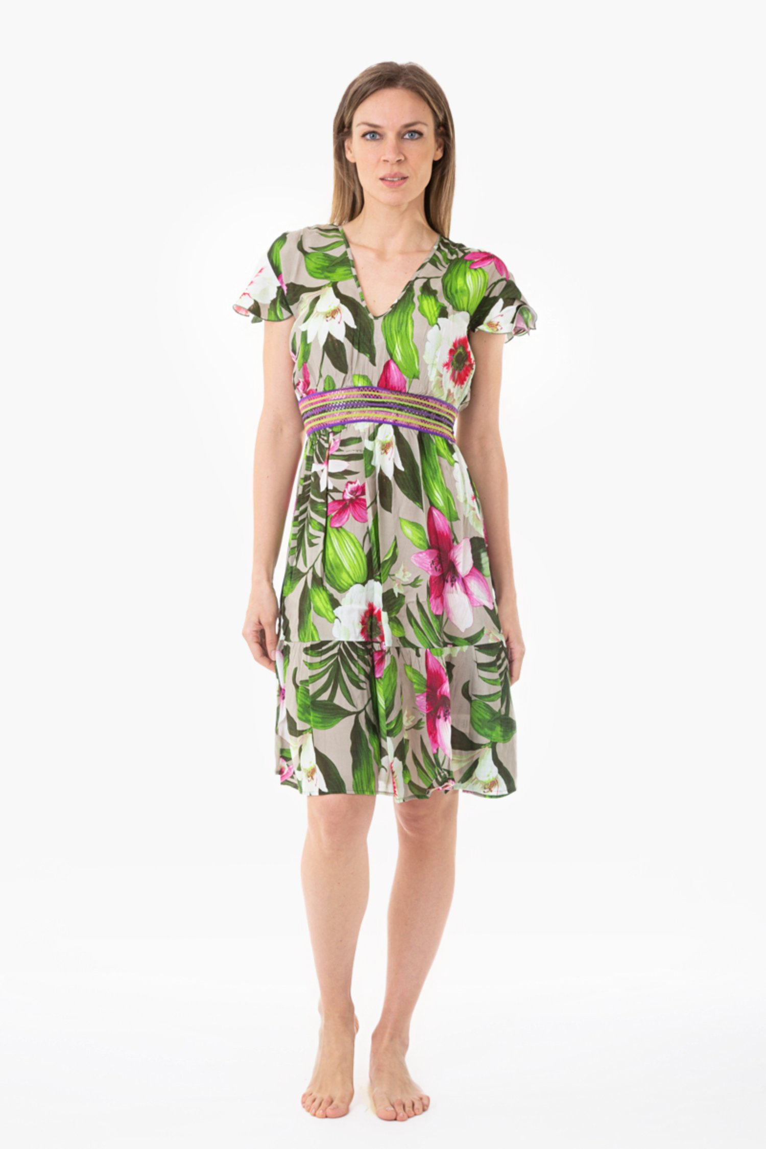 LONGUETTE DRESS TRIMMINGS - Tropical Flowers Beige