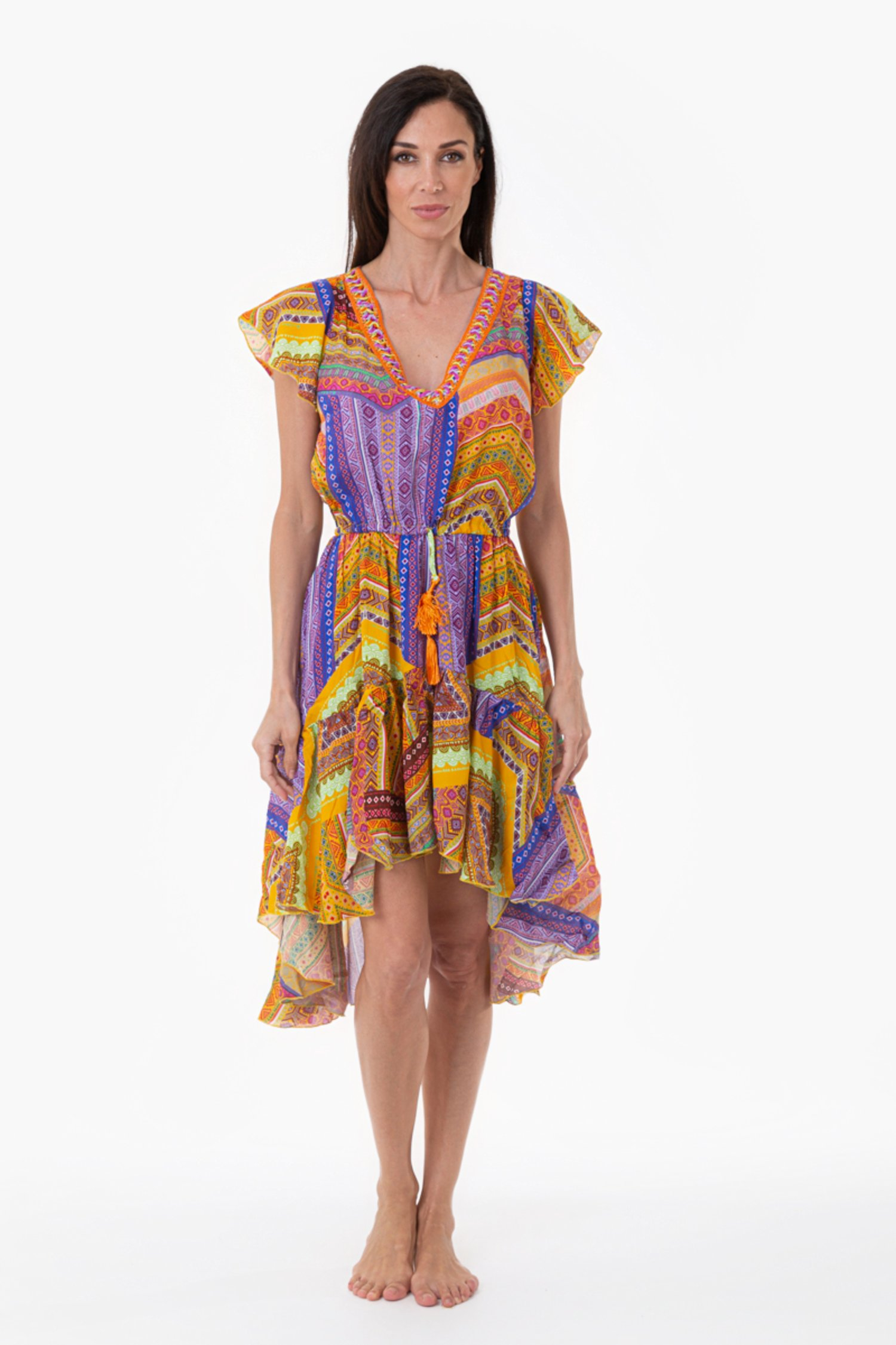ASYMMETRIC LONGUETTE DRESS WITH TRIMMINGS - Orange