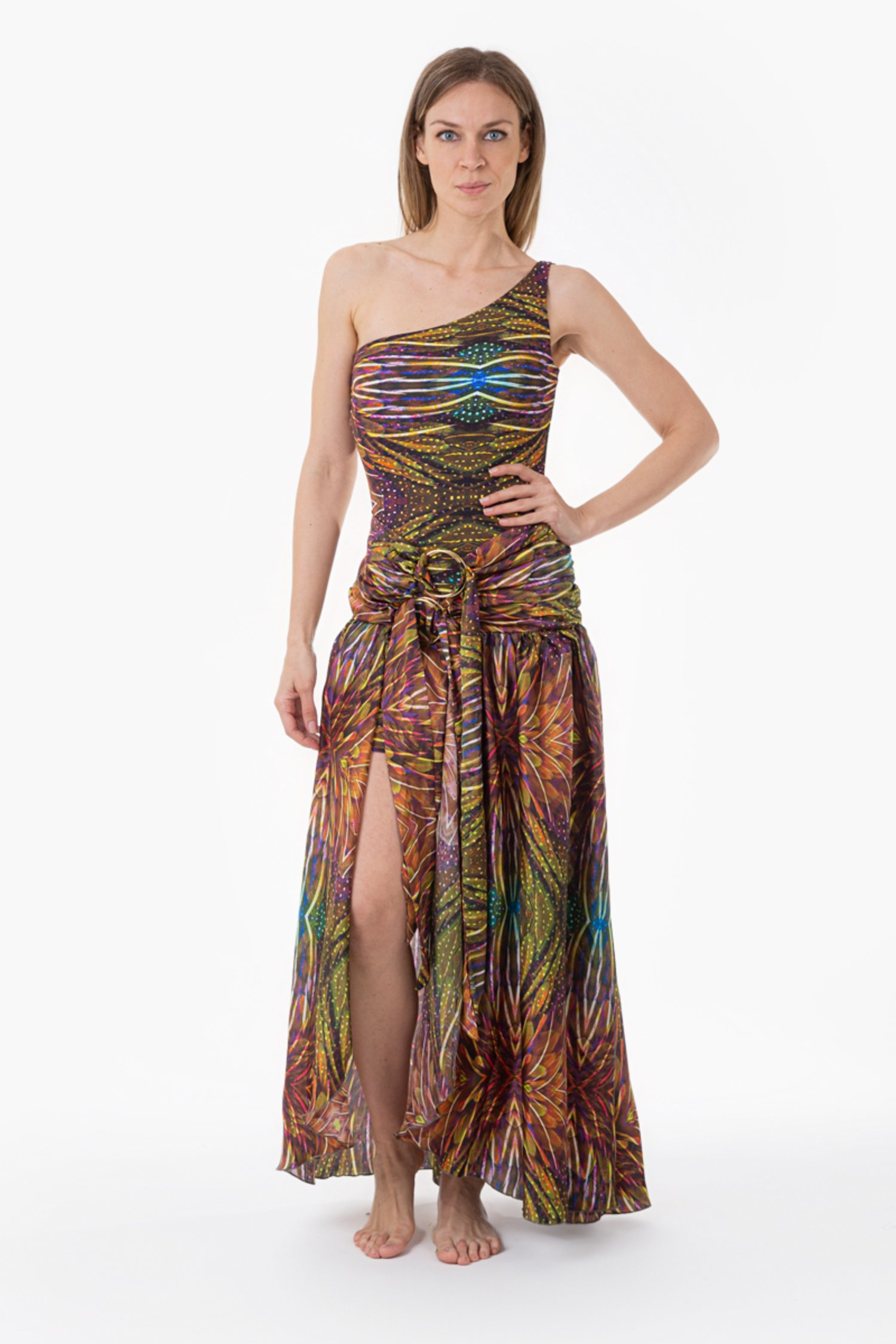 ONE SHOULDER LONG DRESS WITH CIRCLES - Plumage Ambra