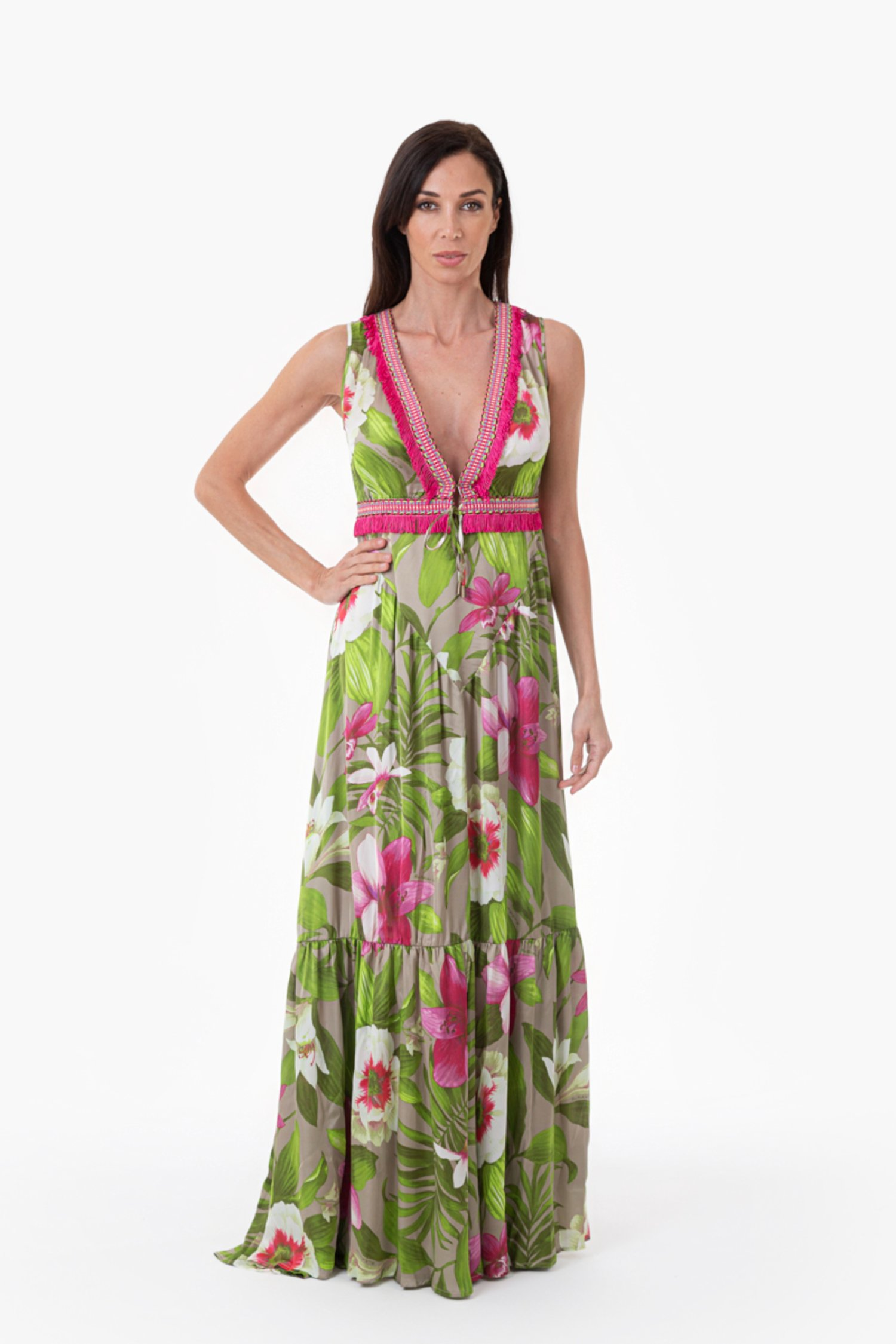 LONG DRESS TRIMMINGS FRINGES - Tropical Flowers Beige