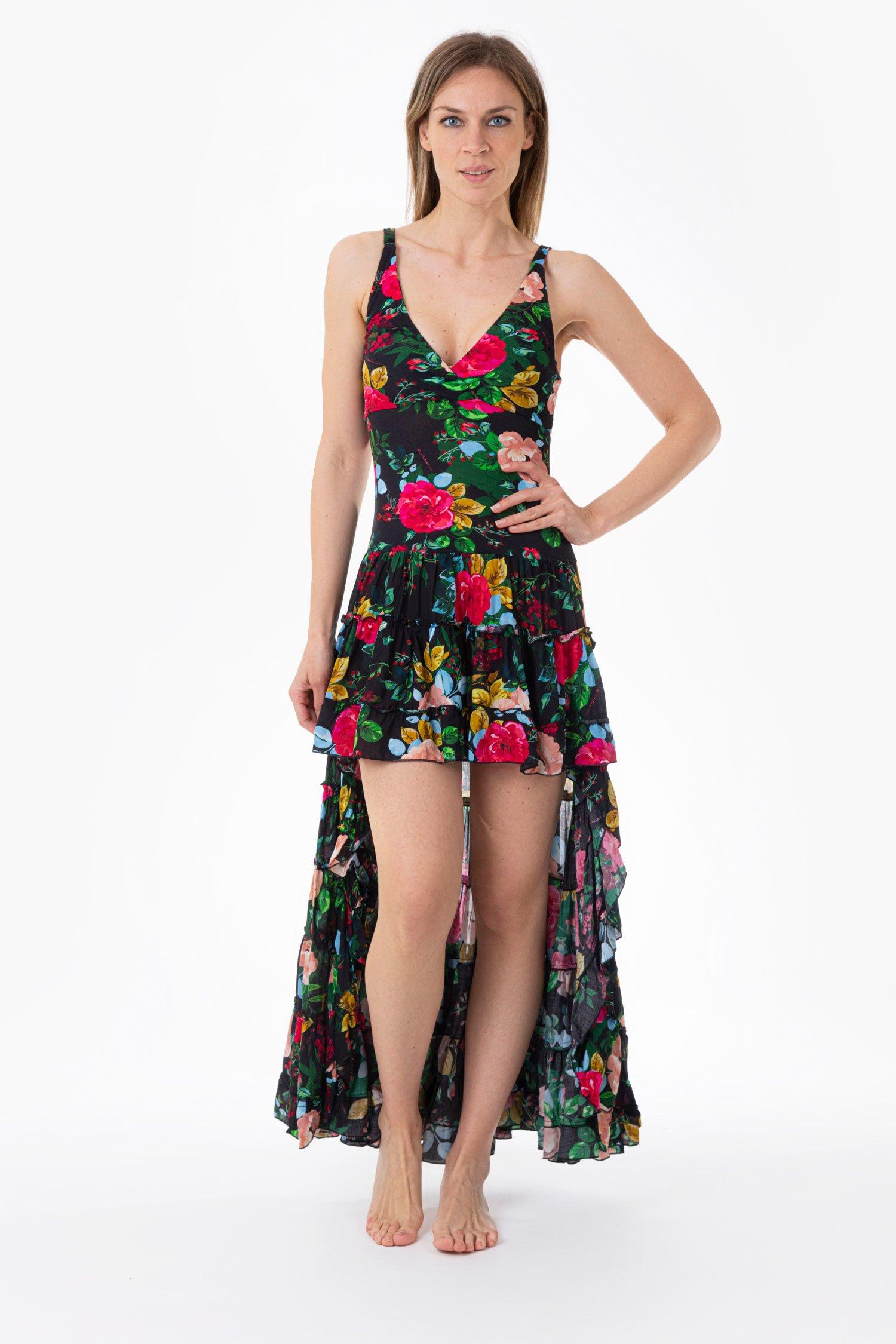 LONG ASYMMETRIC DRESS - Rose Black