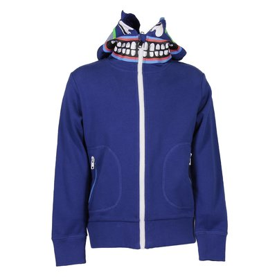 Blue organic cotton zip-up hoodie
