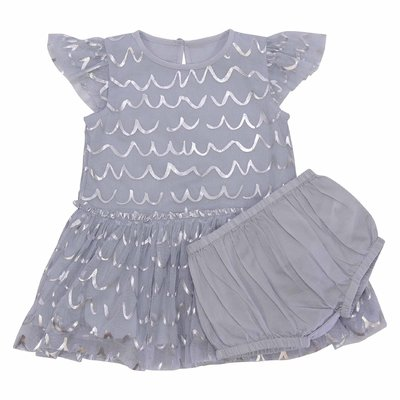 Light blue stretch tulle dress with cotton muslin coulottes set