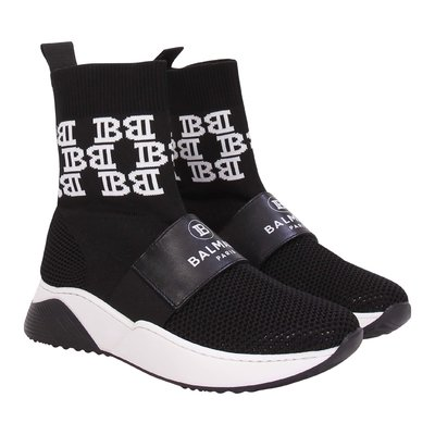 Black logo detail stretch techno knit fabric high sneakers