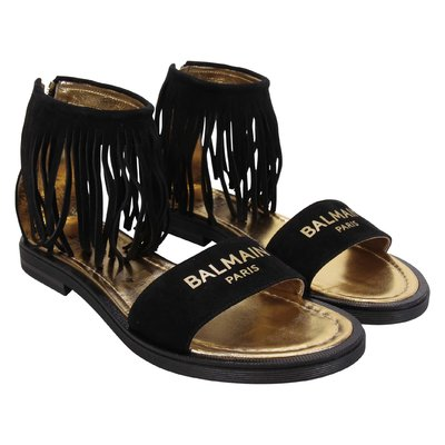 Black fringe detail leather sandals