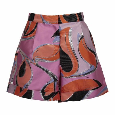 Abstract print cotton blend shorts