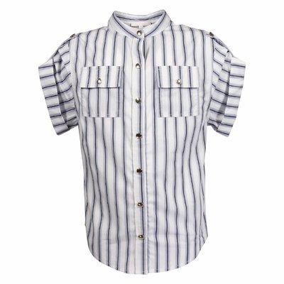Camicia bianca e azzurra in popeline di cotone