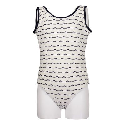 White lycra one-piece swimsuit with blue iconic waves