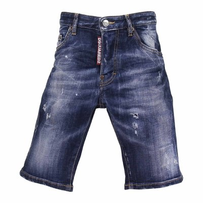 Stretch cotton denim vintage effect shorts