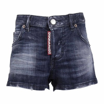 Logo detail stretch cotton denim vintage effect shorts