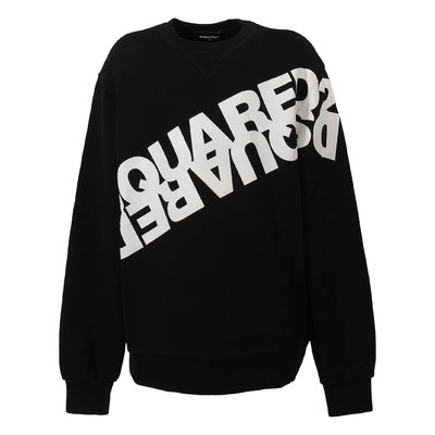 Black logo detail cotton sweatshirt