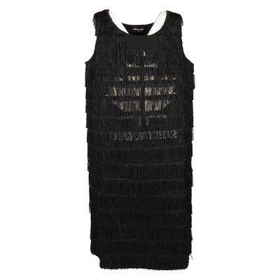 Black Charleston style cotton dress with fringes