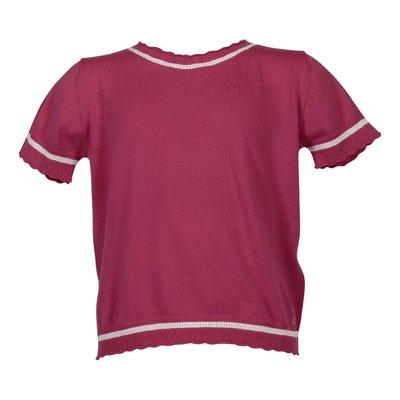 Pullover rosso fragola in maglia di cotone