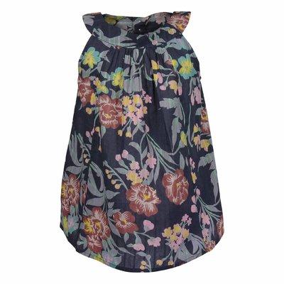 Blue floral print cotton blouse
