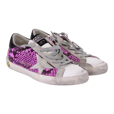 White and fuchsia python leather laced sneakers