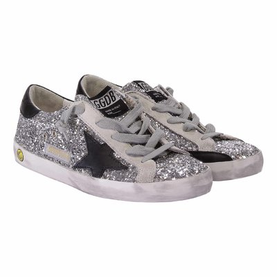 Silver glitter leather Superstar laced sneakers