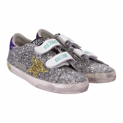 Sneakers Superstar glitterate colore argento in pelle con velcro