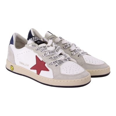 White leather Ballstar laced sneakers