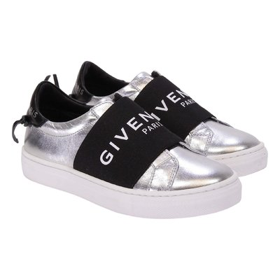 Silver logo detail leather sneakers