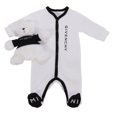 White cotton jersey romper and doudou bear set