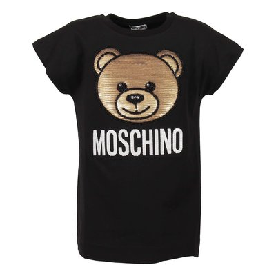 T-shirt nera Teddy Bear in jersey di cotone