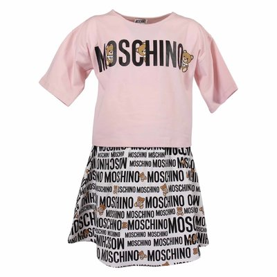 Cotton jersey pink t-shirt and white printed skirt set