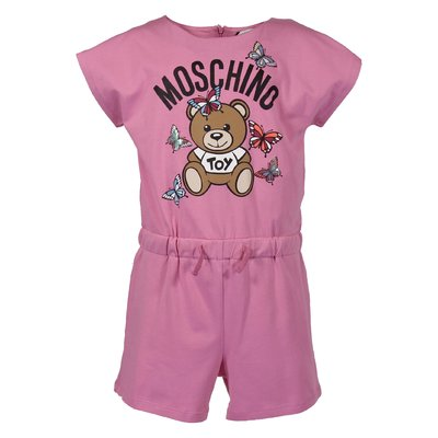 Pink cotton jersey Teddy Bear jumpsuit