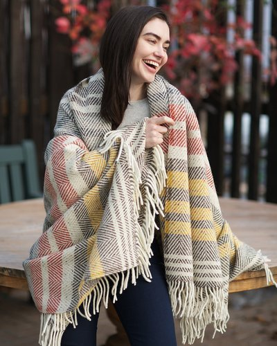 Rustic Stripe Heavy Herringbone Throw