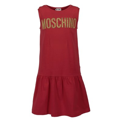 Red logo detail cotton jersey dress