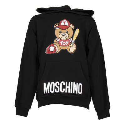 Black cotton Teddy Bear hoodie