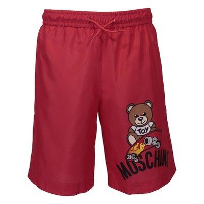 Red nylon swim shorts