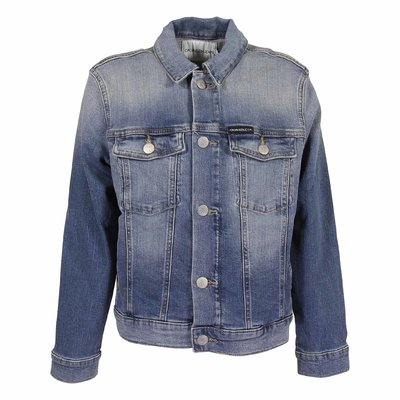 Blue stretch cotton denim vintage effect jacket