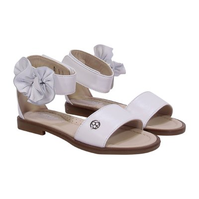 FLORENS white leather sandals with bow