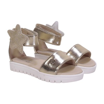 Golden faux leather sandals