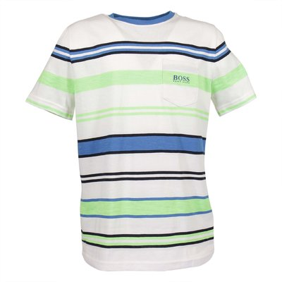 White multicolor stripes logo detail cotton jersey t-shirt